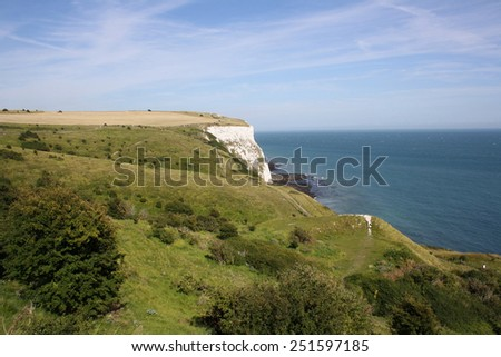 Beautiful white cliffs near Dover, UK , Great Britain - stock photo