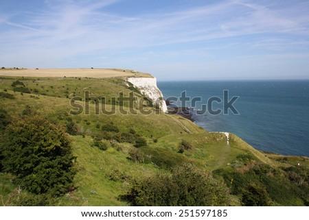 Beautiful white cliffs near Dover, UK , Great Britain - stock photo