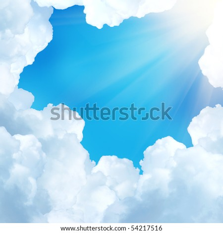 beautiful white clouds - stock photo