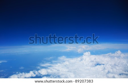 Beautiful white clouds and blue sky with space for text - stock photo
