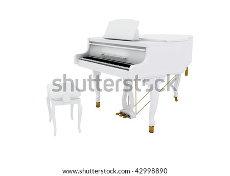 Beautiful white grand piano isolated on white background - stock photo