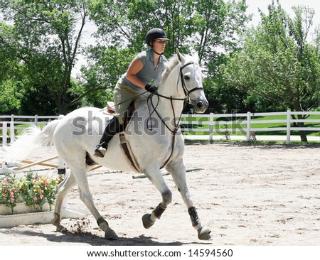 Beautiful white horse with lady jumping hurdles - stock photo