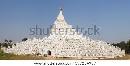 Beautiful white Hsinbyume Pagoda in Mingun. Panoramic photo. Western bank of Irrawaddy river, Myanmar - stock photo