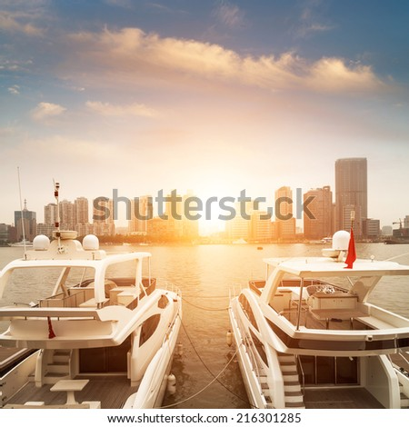 Beautiful white modern yachts at sea port in Nice, France, Europ - stock photo