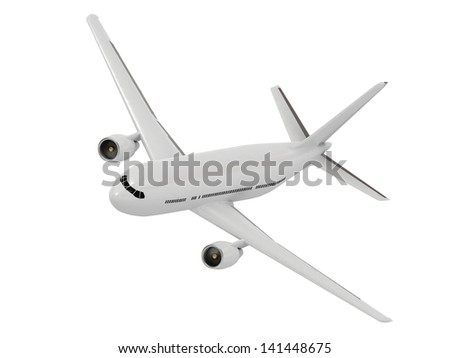 Beautiful white passenger airliner comes in to land at the airport - stock photo