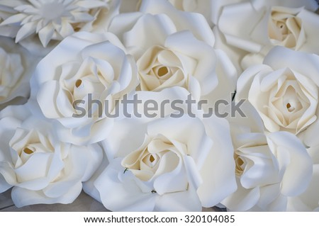 beautiful white roses flowers made with filters  - stock photo