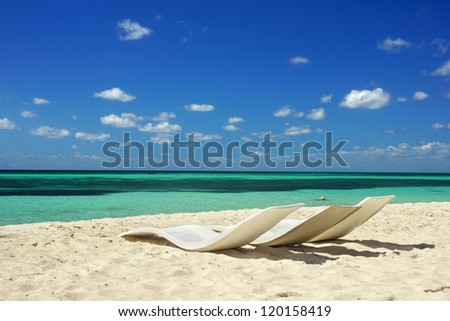 Beautiful white sand beach in Cozumel, Mexico - stock photo