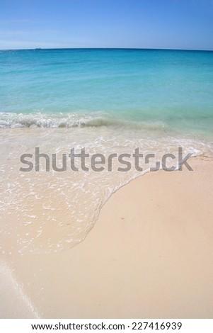 Beautiful white sand beach with turquoise sea & blue sky, Aruba, Caribbean. - stock photo