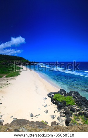 Beautiful white sand tropical beach. Gris Gris beach on Southern tip of Mauritius - stock photo