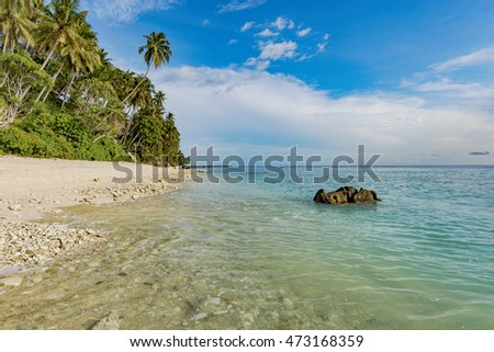 Beautiful white sand with blue sky and coconut tree