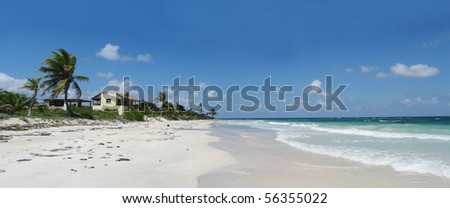 beautiful white sandy beach and aqua waters in mexico - stock photo