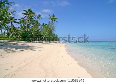 Beautiful white sandy tropical beach - stock photo