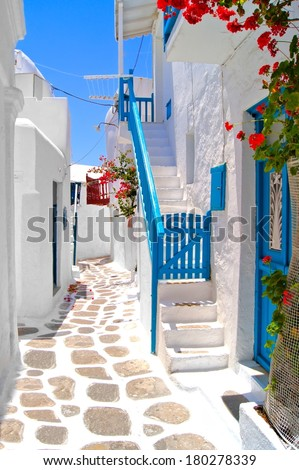 Beautiful white streets of Mykonos, Greece - stock photo
