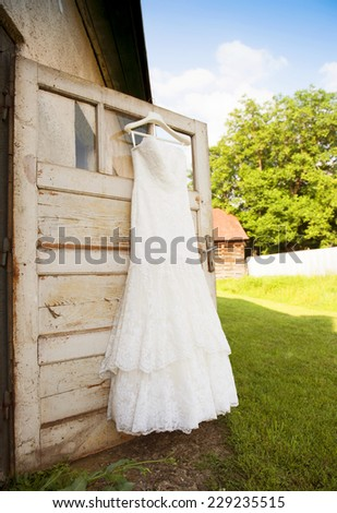 Beautiful white weddding dress ready for bride - stock photo