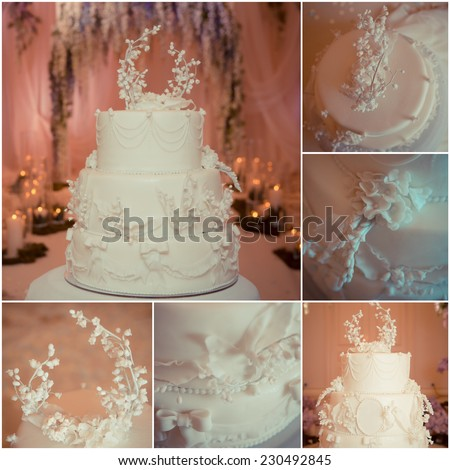 Beautiful white wedding cake, decorated with lilies of the Valley - stock photo
