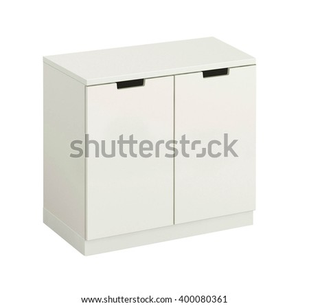 beautiful white wooden modern cupboard isolated on white - stock photo