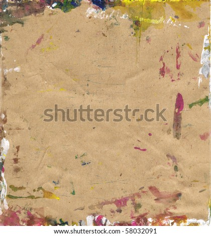 Beautiful white, yellow and magenta paint splatters on classic brown paper- Great for textures and backgrounds for your projects! - stock photo