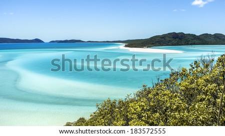 Beautiful Whitehaven Beach in the Whitsunday Islands, Queensland, Australia - stock photo