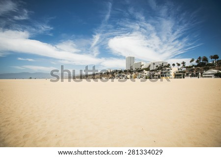 Beautiful wide angle view of Santa Monica beach landscape, Los Angeles, California - stock photo