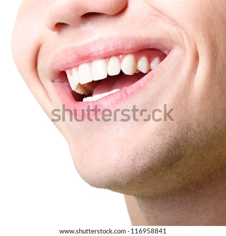 Beautiful wide smile of young man with great healthy white teeth. Isolated over white background - stock photo