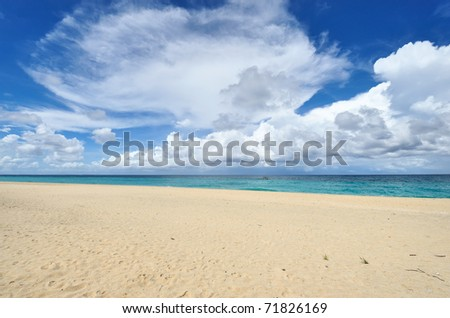 Beautiful wild beach at remote island, Philippines - stock photo