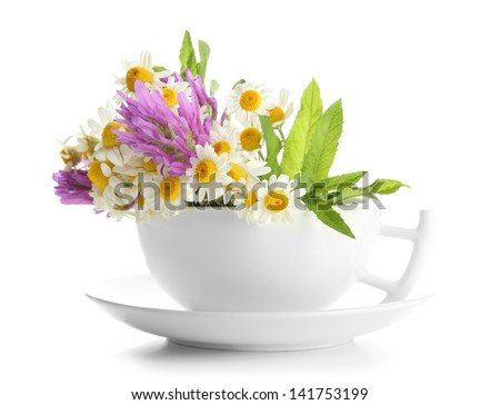 Beautiful wild flowers and mint in cup, isolated on white