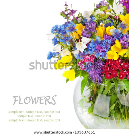 Beautiful Wild flowers bouquet in vase isolated on white. Cornflower, camomile, carnation, hand bell