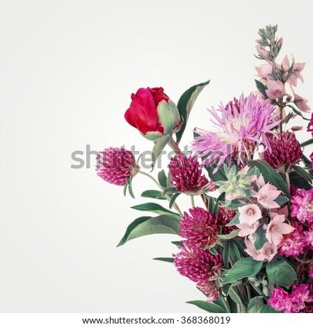 Beautiful Wild Flowers Bouquet. Wildflowers background - stock photo