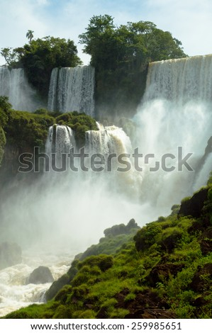 Beautiful wild landscape nature jungle rain forest iguazu waterfalls argentina - stock photo