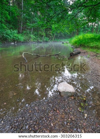 Beautiful wild river in summertime green forest photographed at sunrise. River Wadag near Olsztyn, Poland (Warmia and Mazury lake district) - stock photo