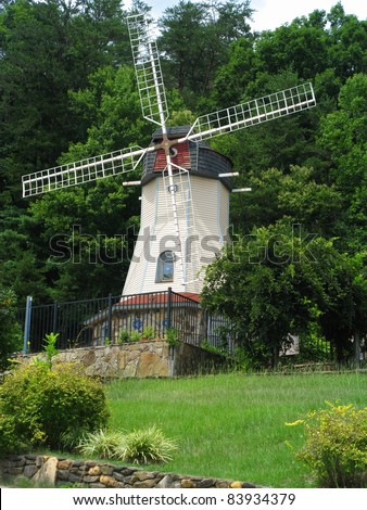 Beautiful wind mill landscape in the countryside