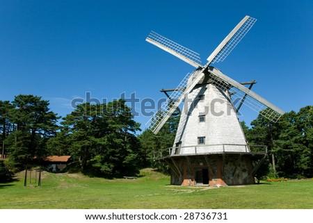 beautiful windmill at Ventspils, Latvia - stock photo