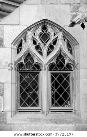 Beautiful window on facade of Davenport college, Yale - stock photo