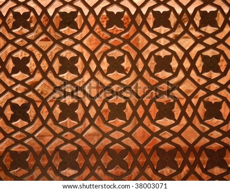 Beautiful window ornament in the Fatehpur Sikri temple complex in Rajasthan, India - stock photo
