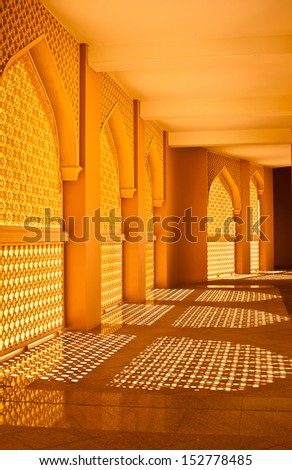 beautiful windows with ornaments in oriental style, oman - stock photo