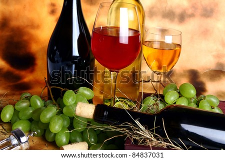 Beautiful wine composition against old texture background