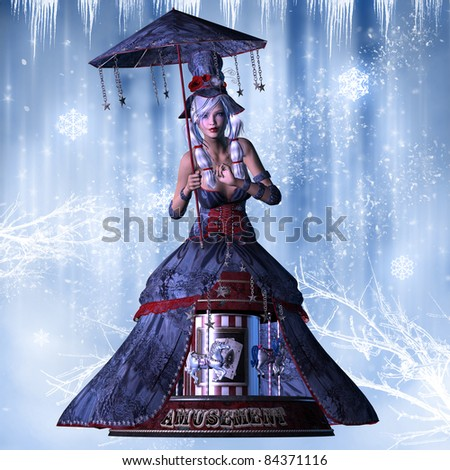 Beautiful winter carnival woman. Clipping path included. - stock photo