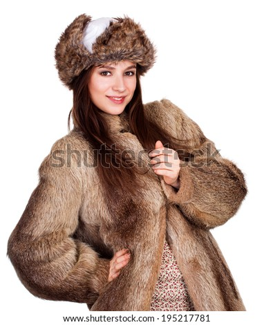 beautiful winter coat girl, white background - stock photo