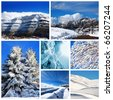 Beautiful winter collage, collection of cold weather landscapes with mountains & trees covered with snow over blue sky - stock photo