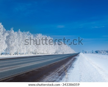 beautiful winter forest. A Panorama of frosty day in the winter forest - stock photo