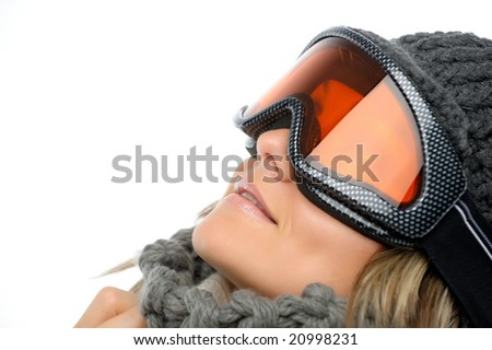 beautiful winter girl with ski glasses - stock photo