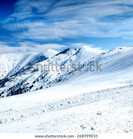 Beautiful winter landscape in high mountains - stock photo