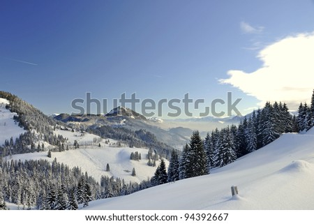 Beautiful Winter landscape in the Bavarian Alps
