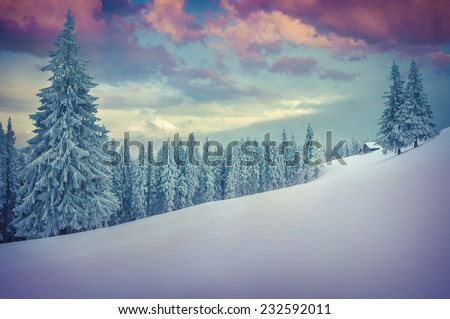 Beautiful winter landscape in the mountains. Retro style