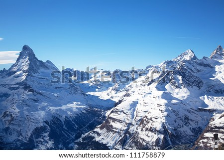 Beautiful winter landscape in Zermatt Switzerland - stock photo
