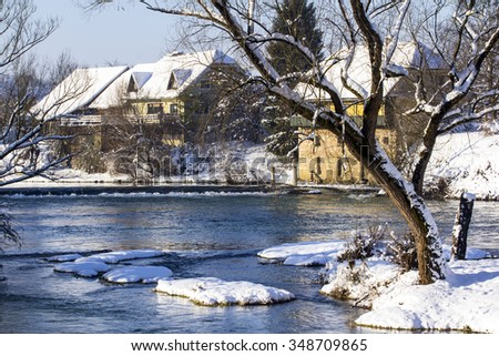 Beautiful winter landscape over the river Krka in Slovenia. - stock photo
