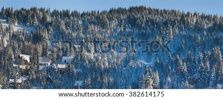 Beautiful winter landscape panorama with snow covered pine trees, village houses, countryside, winter forest - stock photo