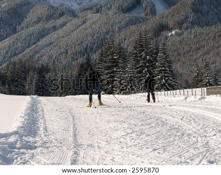 Beautiful winter landscape showing a cross-country ski run with people exercising - stock photo