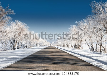 beautiful winter landscape with road and snow-covered trees - stock photo