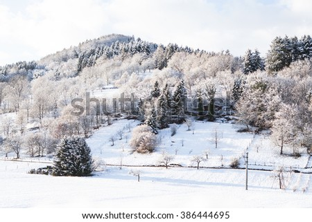 Beautiful winter landscape with snow covered trees and mountains - stock photo